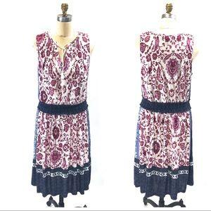 Lucky Brand Knit Dress Mix Print Elastic Waist